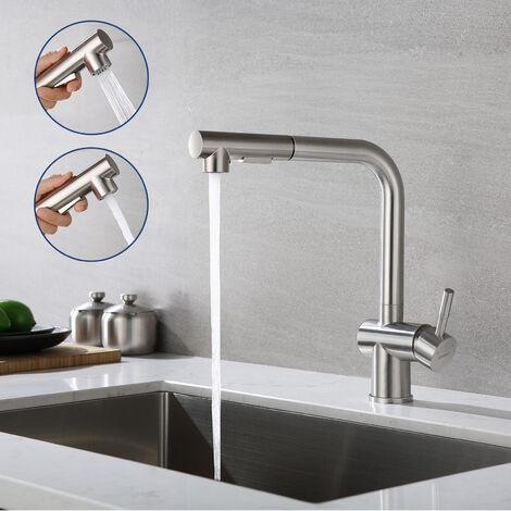 Rubinetto 3 Vie da Lavello Cucina in Ottone 2 Manopole per Depuratore Acqua Calda e Fredda