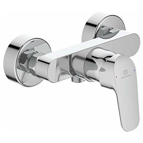 Rubinetto/miscelatore per doccia ceraflex   monocomando rubinetto per montaggio a parete con attacchi a S nascosti e leva in metallo, finitura: Cromo, Sporgenza 140mm, DN 15