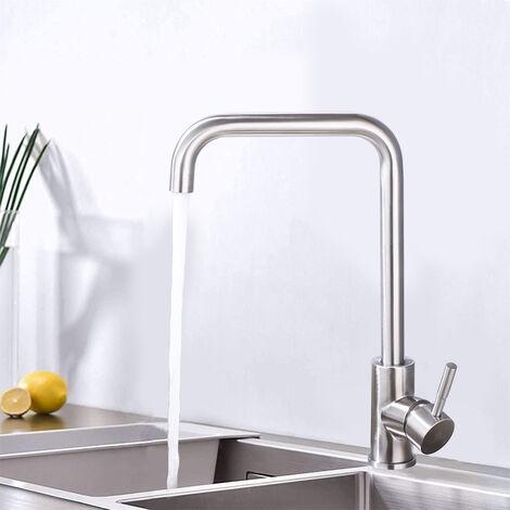 """main image of """"Rubinetto per Cucina Girevole a 360° Miscelatore Monocomando per Lavello Cucina Acciaio Inossidabile Rubinetto Alto Acqua Fredda e Calda"""""""