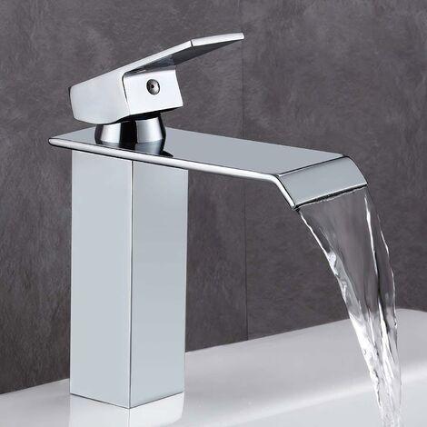 """main image of """"Rubinetto WC LITZEE, rubinetto a cascata in stile moderno in ottone cromato, valvola in ceramica, design piatto rettangolare per un risparmio idrico del 30%."""""""