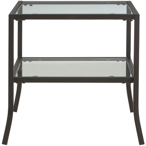 Rubix End Table, Tempered Glass / Metal Frame, Black Powder Coated Frame