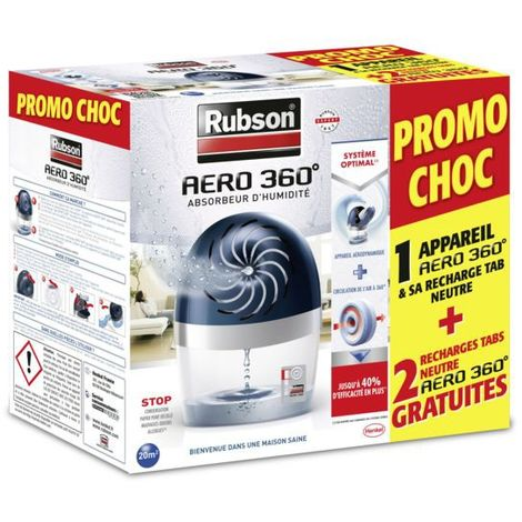 Rubson Absorbeur d'humidité Aero 360° 20m² + 3 recharges