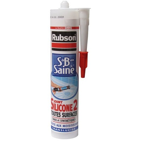 RUBSON - Mastic silicone2 - tous supports - anti-moisissures - transparent - 280 mL