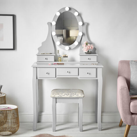 Ruby Rozanna Grey Dressing Table with Hollywood Bulbs LED Lights Vanity Mirror & 5 Drawers Stool Set For Bedroom Makeup Jewellery Storage