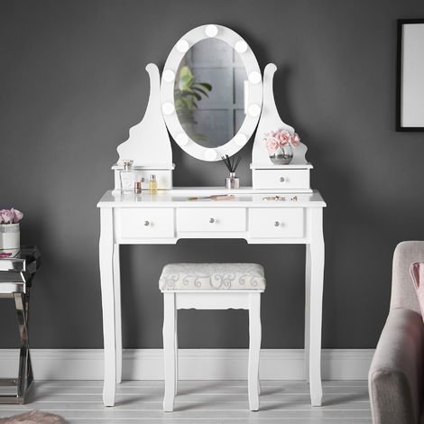 Ruby Rozanna White Dressing Table with Hollywood Bulbs LED Lights Vanity Mirror & 5 Drawers Stool Set For Bedroom Makeup Jewellery Storage