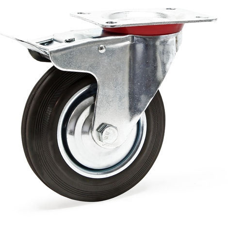 Rueda auxiliar giratoria Doble freno 75mm Goma maciza Base metal Llanta robusta Montaje Bricolaje