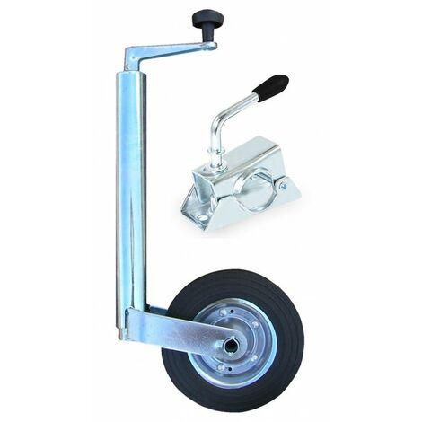 Rueda + Brida Jockey 48mm para remolque de coche universal, acero galvanizado