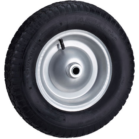 Rueda carretilla, Neumático de goma, Llanta de acero y válvula, Hasta 120 kg, Negro