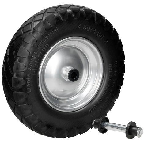 "Rueda carretilla PU caucho 4.80 / 4 4.00-8 15"" 390 mm neumático goma maciza"