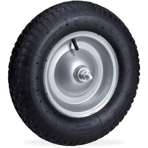 Rueda de carretilla, Neumático de recambio con eje, Llanta de acero, 120 kg, Negro