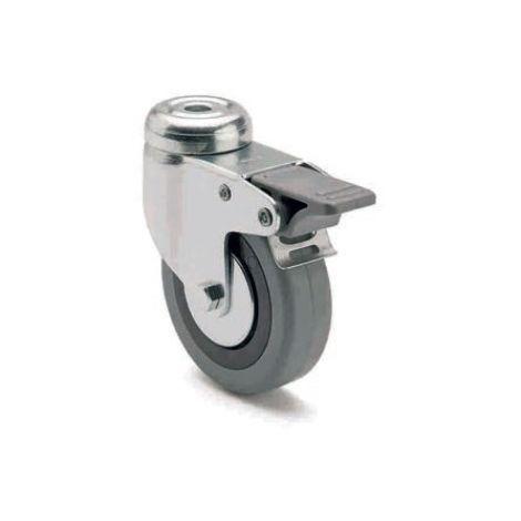 Rueda de goma giratoria para pasador con freno y platina lateral