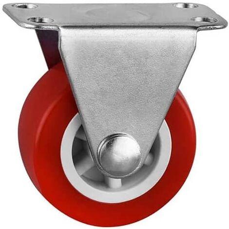 Rueda fija industrial de goma sin freno 37.5 mm Rojo