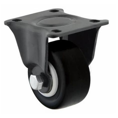 Rueda fija industrial de poliuretano sin freno 62.5 mm Negro