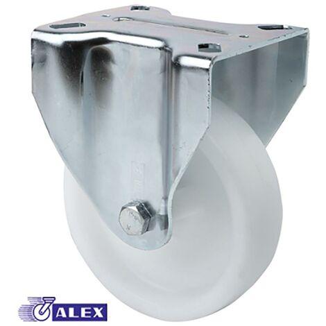 Rueda Fija Platina 107X086Mm 130Kg Cojinete Liso 080Mm Poliamix Blanco Ruedas Alex 2-0236