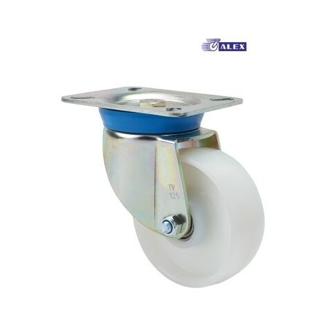 Rueda Giratoria 125Mm 2-0021 Pl.139X110 350Kg.Liso Nylon Bl Tv Tn Al