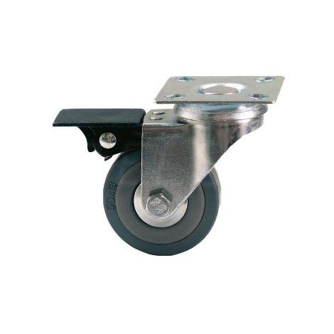 Rueda giratoria con freno, D-50 mm, goma