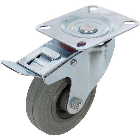 Rueda giratoria de goma con freno 100 mm, 70 kg - NEOFERR