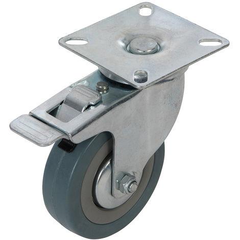 Rueda giratoria de goma con freno 75 mm, 50 kg - NEOFERR