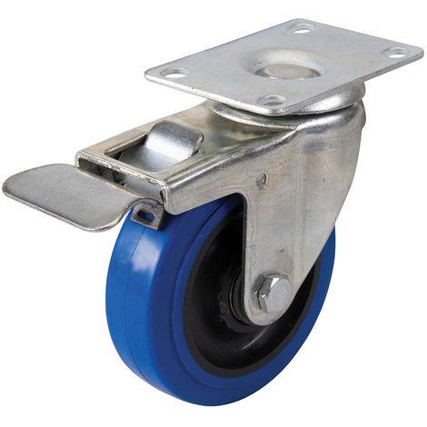 Rueda giratoria de goma con freno Azul, 100 mm 140 kg - NEOFERR