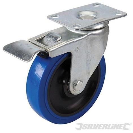 Rueda giratoria de goma con freno (Azul 125 mm 180 kg)