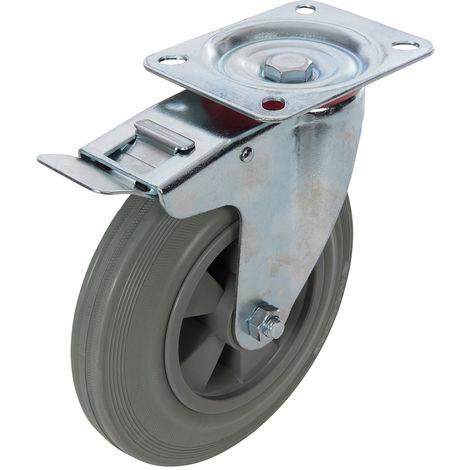 Rueda giratoria de goma para trabajos pesados 200 mm, 200 kg - NEOFERR
