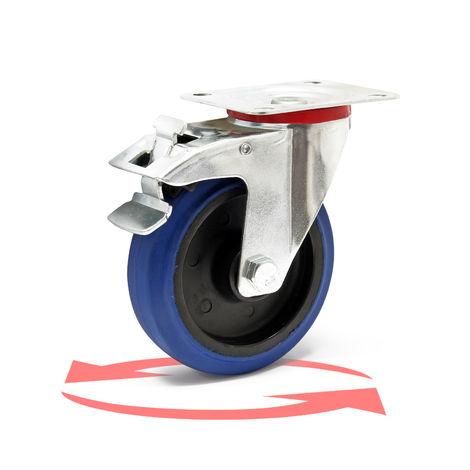 Rueda giratoria de transporte 125mm Plástico Freno 200kg Marcha suave Rueda muebles Carga pesada