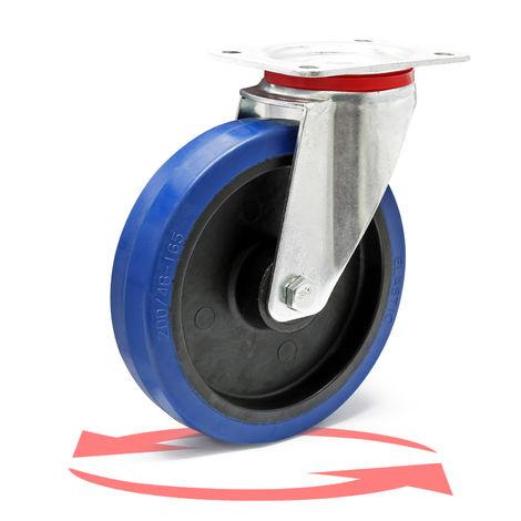 Rueda giratoria de transporte sin freno 200mm Plástico 350kg Marcha suave Rueda muebles Carga pesada