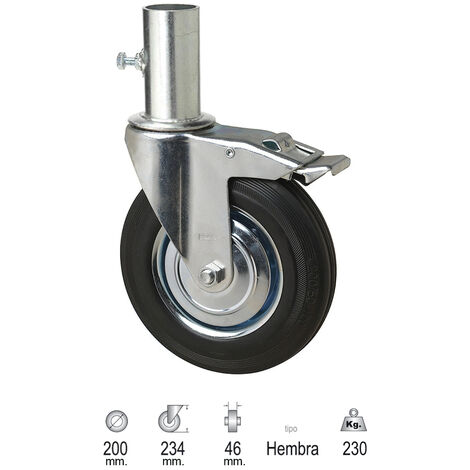 "main image of ""Rueda Industrial Andamio (Hembra) 200 mm."""