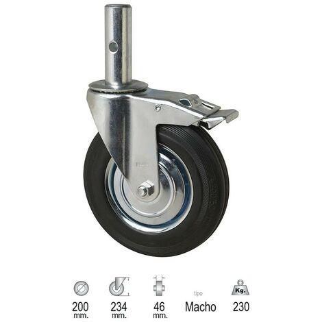 Rueda industrial andamio (macho) 200mm
