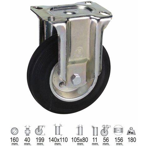 Rueda Industrial Goma Negra Fija 160 mm.
