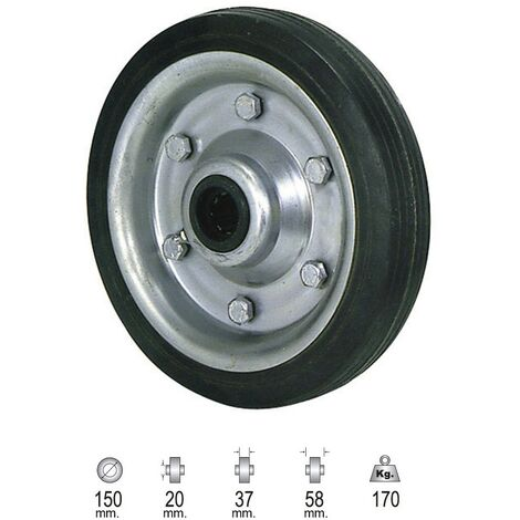 "main image of ""Rueda industrial goma negra sin eje 250 mm."""