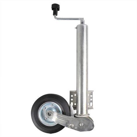 Rueda jockey 48mm plegable con aro metálico y neumático sólido de goma 200x60mm