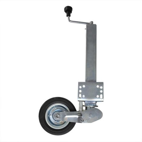 Rueda jockey 60x60mm plegable con aro metálico y neumático sólido de goma 200x60mm
