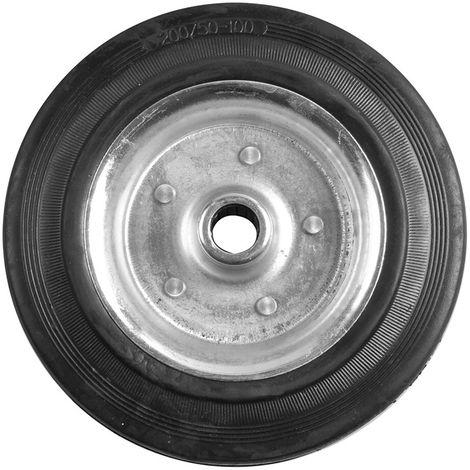 Rueda jockey de recambio metálica con neumático sólido de goma 200x50mm