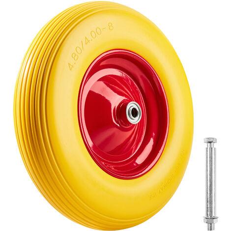 Rueda para carretilla goma maciza - rueda de carretilla de mano, llanta de goma maciza a prueba de pinchazos, llanta de aluminio resistente con eje - amarillo
