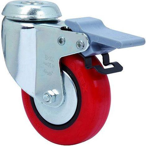 Rueda pivotante industrial de poliuretano con freno 100 mm Rojo