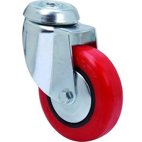 Rueda pivotante industrial de poliuretano sin freno 100 mm Rojo