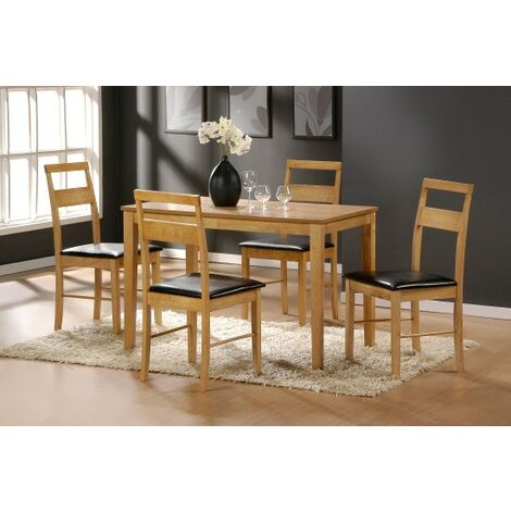 Rufus Oak Rectangle Dining Table And 4 Chairs