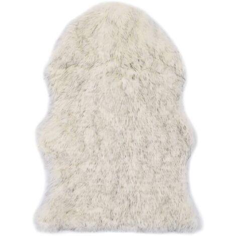 Rug 60x90 cm Faux Sheepskin Grey Melange