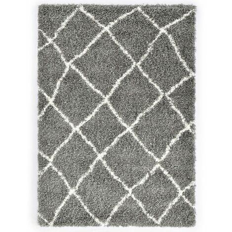 Rug Berber Shaggy PP Grey and Beige 140x200 cm