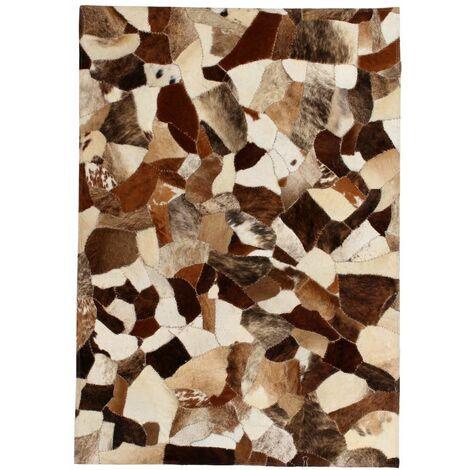 Rug Genuine Leather Patchwork 120x170 cm Random Brown/White
