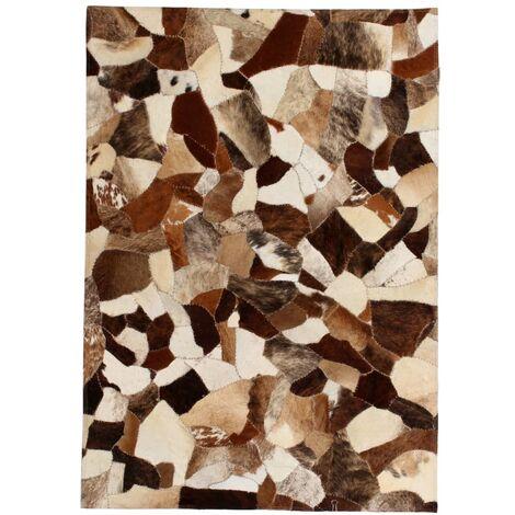 Rug Genuine Leather Patchwork 80x150 cm Random Brown/White