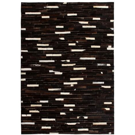 Rug Genuine Leather Patchwork 80x150 cm Stripe Black/White