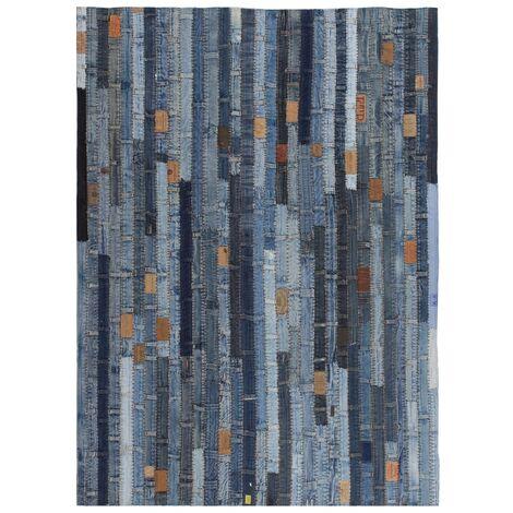 Rug Jeans Waistband Patchwork 160x230 cm Denim Blue