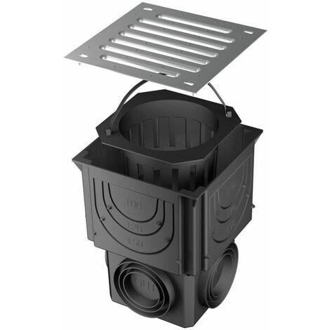 RUG Self Hausablauf Hofablauf Einlaufschacht 25x25cm variabler Ablauf DN 80/100/125 Gulli