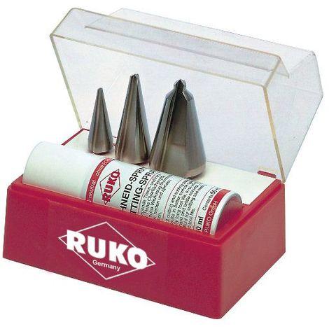 RUKO 101009 - Juego 3 brocas cónicas HSS - Incluye Spray de corte 50 ml