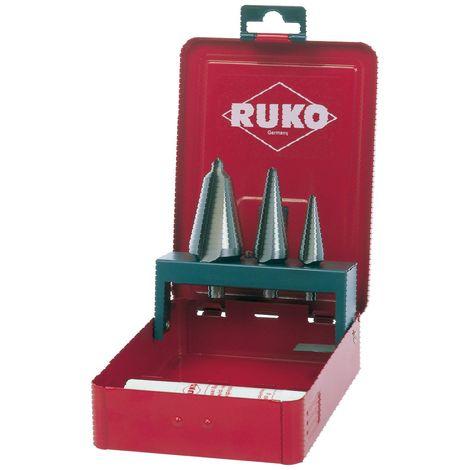 RUKO 101020E - Juego 3 brocas cónicas HSS-E Co 5 - Incluye Pasta de corte 30 gr