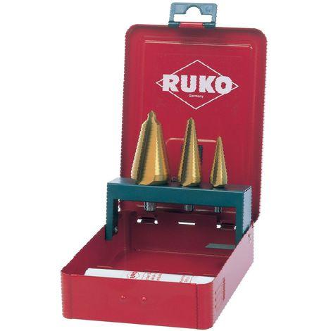 RUKO 101020T - Juego 3 brocas cónicas HSS-TiN - Incluye Pasta de corte 30 gr