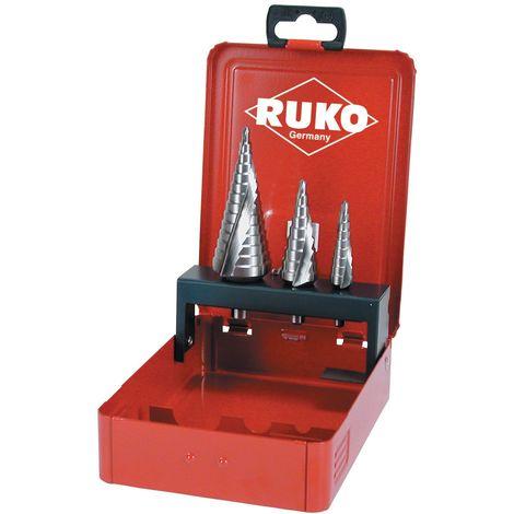 RUKO 101026E - Juego 3 brocas escalonadas HSS Co 5 tamaño nº 0/9, 1 y 2