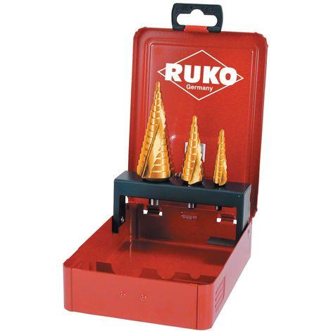 RUKO 101026T - Juego 3 brocas escalonadas HSS-TiN tamaño nº 0/9, 1 y 2